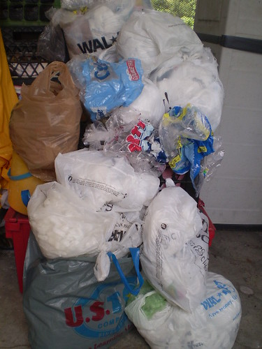 plastic bags awaiting recycling, plastic bags, plastic shopping bags