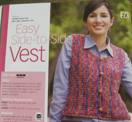 Vest side-to-side pattern