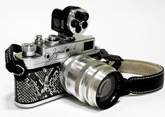 Camera Porn - Self-mod minty snake-skin Zorki 4 with Jupiter 9 85mm f2 and Turret viewfinder, Philip Tay's soft release and Artisan&Artist double stitched leather strap (DoveVadar) Tags: snakeskin cameraporn zorki4 jupiter985mmf2 artisanartist turretviewfinder dovevadar