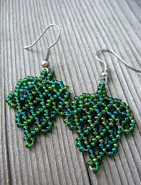 Dark Green Beadwoven Earrings