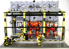 Mech Bay Zero (DARKspawn) Tags: bay robot lego space repair diorama mecha mech classicspace futureindustry mechabay