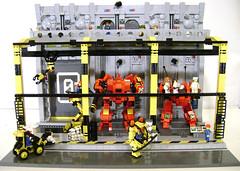 Mech Bay Zero (DARKspawn) Tags: bay robot lego space repair diorama mecha mech classicspace futureindustry mechabay