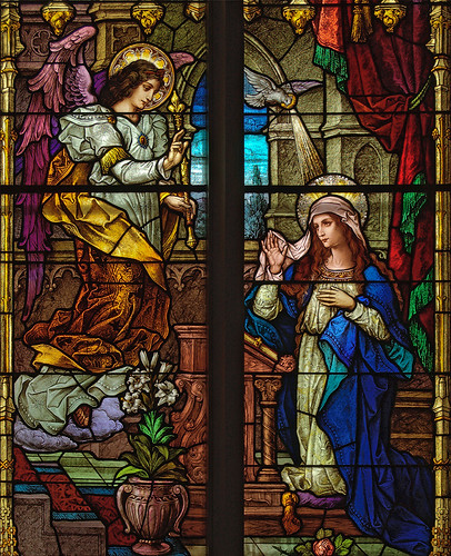 Saint Bernard Roman Catholic Church, in Albers, Illinois, USA - stained glass window detail - Annunciation