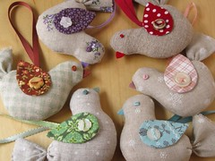 Linen Bird Ornaments (PatchworkPottery) Tags: christmas bird handmade linen sewing crafts ornament fabric