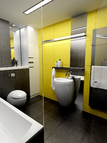 White Yellow Bathroom for a private apartament, Cracow, by InsideLab