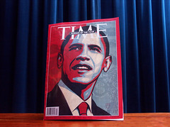 Man of the Year (rogiro) Tags: blue red portrait black art mill freeassociation face proud bar magazine table hope code wind time african yes curtain tie progress can pop tudor we cover american page dollar barcode change shield vs obama turbine windturbine cnt fai manoftheyear socialchange 111v1f yeswecan cattimes