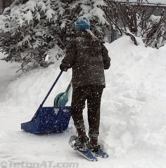 Snowshoes in the driveway