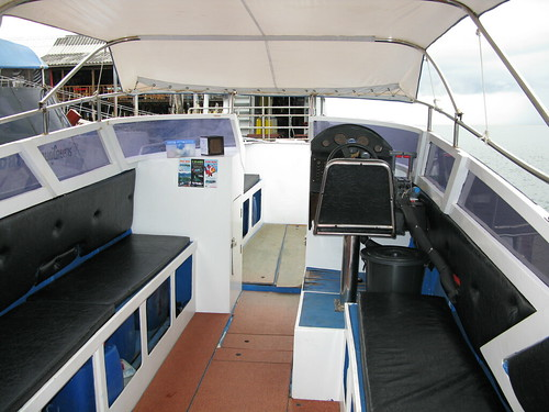 Inside the speed boat used for express transfers