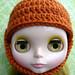 Pumpkin Spice Crochet Helmet for Blythe