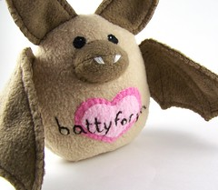 Valentine's Bat (jennybubbletime/ Sea Pinks) Tags: pink brown cute love night wings nocturnal heart needlework handmade embroidery teeth bat tan ears plush softie stuffedanimal handsewn fangs handstitched valentinesday bubbletime