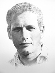 Paul Newman (pbradyart) Tags: portrait bw art pencil star sketch artwork drawing pencildrawing artcafe paulnewman