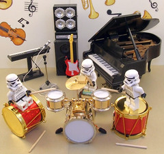 When sharing becomes fun. (waihey) Tags: music fun drums keyboard play lego guitar stormtroopers piano clash beat noise bang musicroom homemadedrumsticks falkirktoolboothminiatures