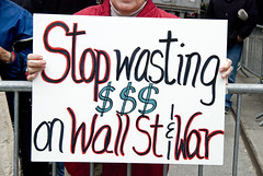 Stop Wasting Money On Wall Street (tripletstate) Tags: nyc peace manhattan protest demonstration antiwar wallstreet socialcauses marchonwallstreet