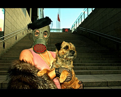 Unequal 2 - Gasmask 3 (Nina_999) Tags: people woman dog animal stairs canon finland gasmask eos20d