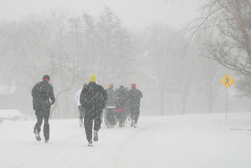 Spring Snow in Vilas Park: Runners
