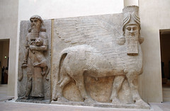 Shedu (caribb) Tags: old travel sculpture man paris france art beauty museum beard artwork ancient louvre sightseeing lion historic touring deity basrelief wingedbull musedulouvre alad minivacation mesopotamian valuable assyrians shedu