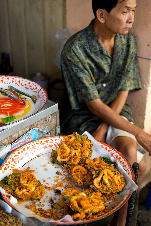 Deep-fried shrimp fritters for sale at Phuket's morning market.