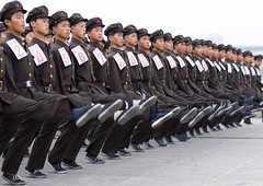 North Korean army  Pyongyang (Eric Lafforgue) Tags: travel del soldier army asia republic propaganda military korea il kimjongil korean marching soldiers socialist asie coree milit