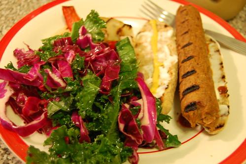 seitan sausage cabbage kale salad