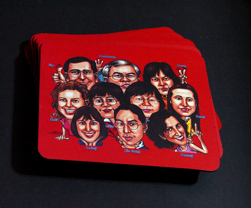 Seagate Group caricatures printed on 11 mousepads