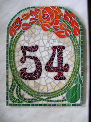 House number 54 - just right after grouting, still wet (stiglice - Judit) Tags: mosaic housenumber