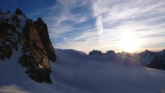 Sunrise at the Cosmiques hut (chaletlaforet) Tags: mountaineering chamonix aiguilledumidi cosmiquesarête