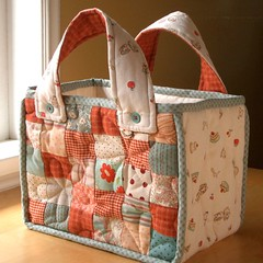 TeaTime quilted bag (PatchworkPottery) Tags: flower bag handmade sewing crafts country quilted patchwork handbag zakka