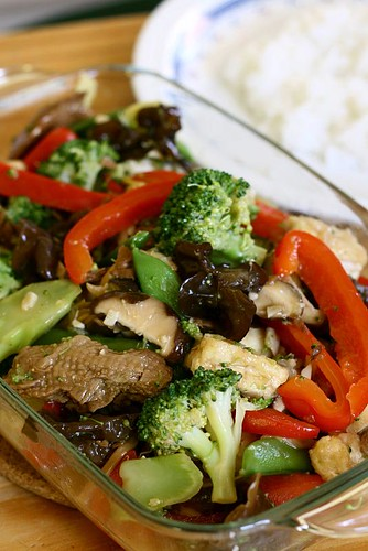 Vegetarian stir fry in oyster sauce