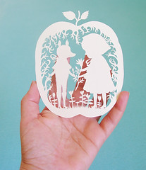 Red Riding Hood Papercut :) (Elsita (Elsa Mora)) Tags: original red white plant art apple nature girl paper one design miniature wolf looking tea cut lace decorative small mother craft kind story riding tiny hood characters elsa herbal papercut mora remedy elsita
