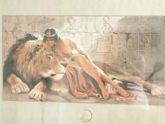 Lady with baps out atop lion (amasc) Tags: art print bad lion vietnam reception egyptian faux saigon hochiminhcity cleopatra hcmc risque ptolemaic