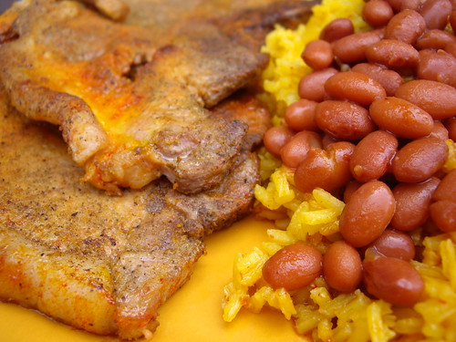 Chuletas with Rice and Beans