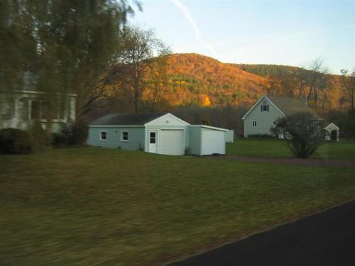 Blurred grass, crisp house