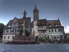 The old fountain in Ladenburg (fuerst) Tags: church fountain brunnen kirche medieval marketplace altstadt oldcity marktplatz fachwerk timbered ladenburg