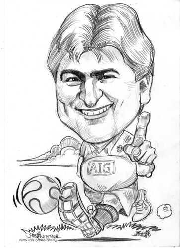 Caricature Manchester United soccer player