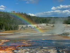 Steambow (BigSkyKatie) Tags: park summer sun castle nature wonder landscape rainbow natural cone basin formation mat upper national yellowstonenationalpark yellowstone geology geyser bacteria geothermal thermal eruption cinder calcite outpost runoff bigskycountry blueribbonwinner castlegeyser uppergeyserbasin natureoutpost steambow katielasallelowery