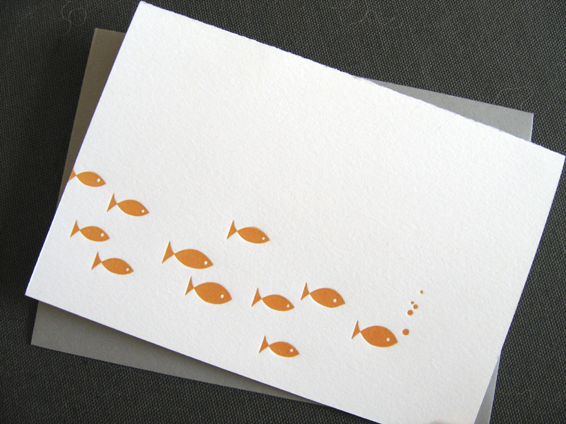 Fishies letterpress card