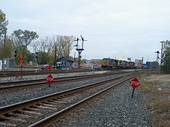 Southbound CSX Transportation Company intermodal transfer train arriving at  Brighton Junction. ( Gone.) Chicago Illinois. October 2006.