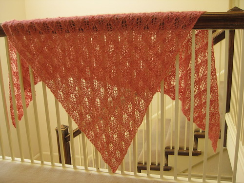 Coral pink Birch shawl