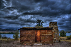 Historic Cabin (Thad Roan - Bridgepix) Tags: statepark lake architecture clouds landscape cabin colorado dusk overcast denver historic chatfield hdr littleton slocum photomatix 200808