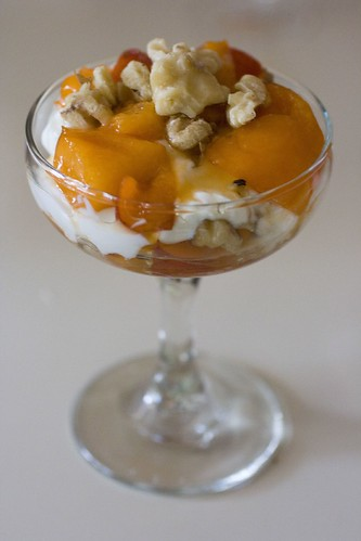 Honey-Apricot Parfait With Greek Yogurt, and Walnuts