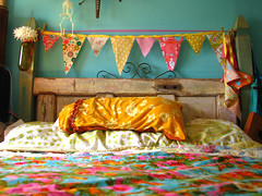 the new happy bed (jessica wilson {jek in the box}) Tags: fun interesting handmade yay garland moo explore fabric top100 jekinthebox bunting top50 aug08 funfabric happybed happybedroom youcantgowrongwithorangepinkyellow icon09