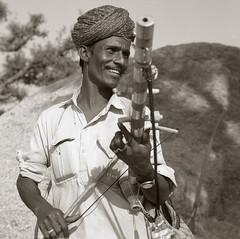 Musician, Rajasthan. (ndnbrunei) Tags: blackandwhite india tlr musicians rollei rolleiflex square kodak bn rajasthan rolleiflex28f 100tmx classicblackwhite epson4990scanner autaut rolleigallery ndnbrunei