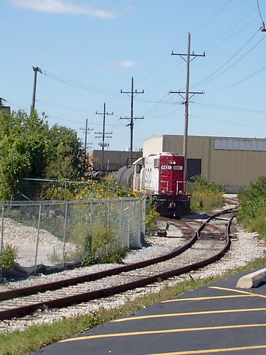 Canadian Pacific switching local backing up a cut of tank cars. Bensenville Illinois. September 2007.