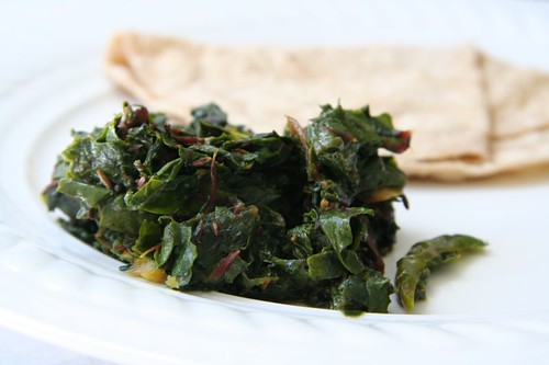 Greens: Chard with garlic and green chilies