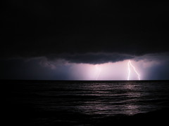 """Greeced"" Lightning (icolorinthelines) Tags: lightning lakeontario rochesterny greeceny capturerochester"