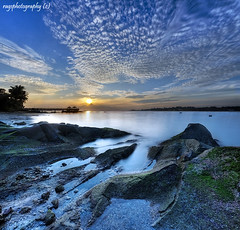 Smokin Sky and Mystical Waters (Ragstatic) Tags: city longexposure morning light sunset sea sky sun holiday seascape color reflection beach water clouds sunrise relax landscape happy dawn landscapes photo nikon singapore rocks asia exposure nightshot rags famous reservoir photograph dri hdr stockphoto blending hfr seachthebest d700 bratanesque singaporelandscape singaporenightshot boatislandpoetry singaporeseascape
