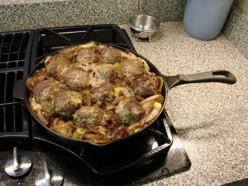 baked meatballs and potato