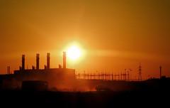 industrial sunrise (AgusValenz) Tags: orange sun sol sunshine silhouette contraluz nikon amanecer soviet coolpix goodmorning centralasia kazakhstan eurasia naranjas buenosdias p80   karabatan