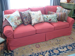 TimelessSofaCoral (DesignFolly.com) Tags: red beach coral island chair rust furniture designer sofa myrtle inlet custom litchfield furniturestore pawleys surfside murrells slipcovers debordieu beachhousefurniture