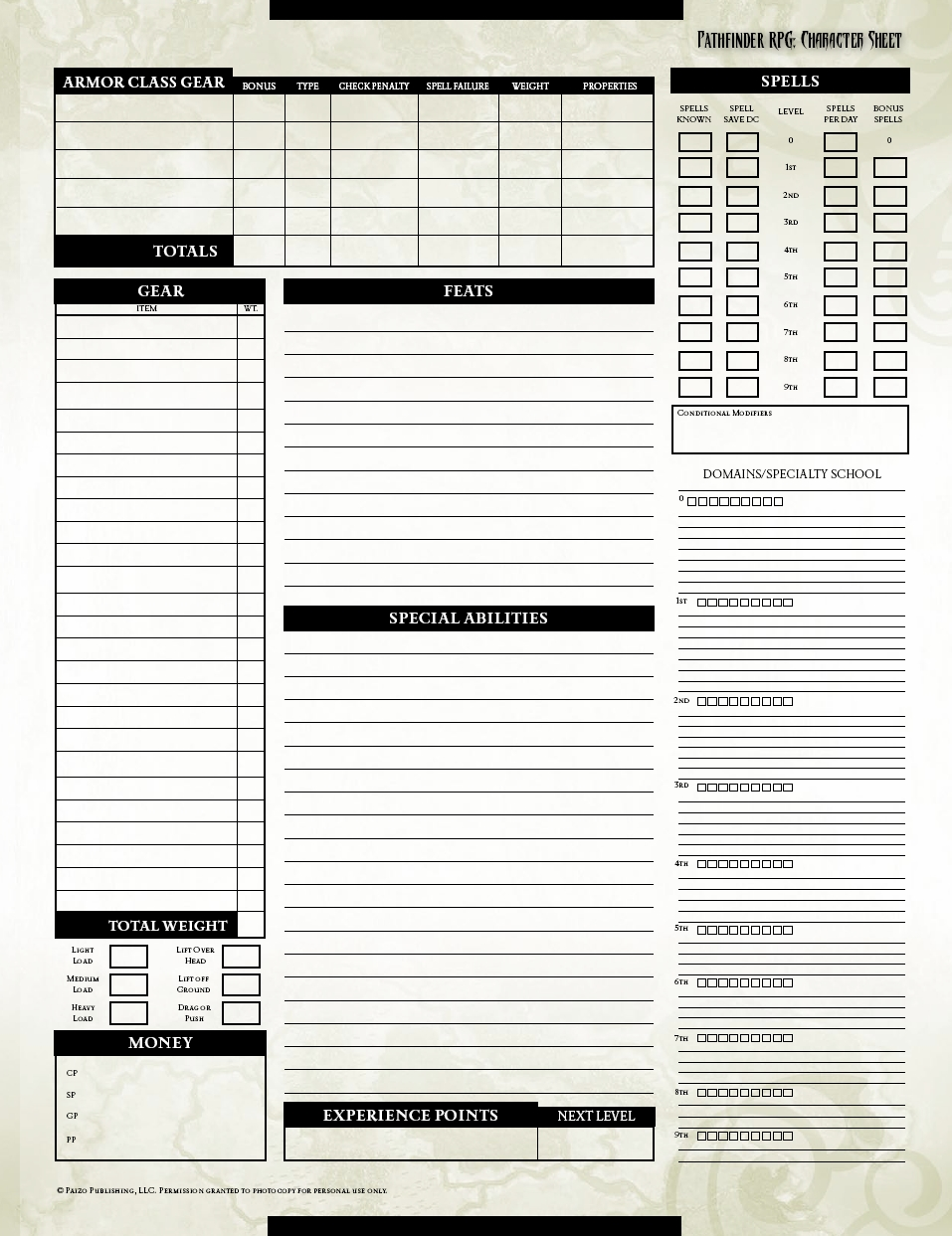 graphic about Pathfinder Character Sheets Printable identified as Question: Pathfinder Temperament Sheet - Fantasy-Weavers